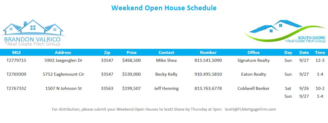 Weekend Open House Schedule 9-25-2015_Florida-Mortgage-Firm